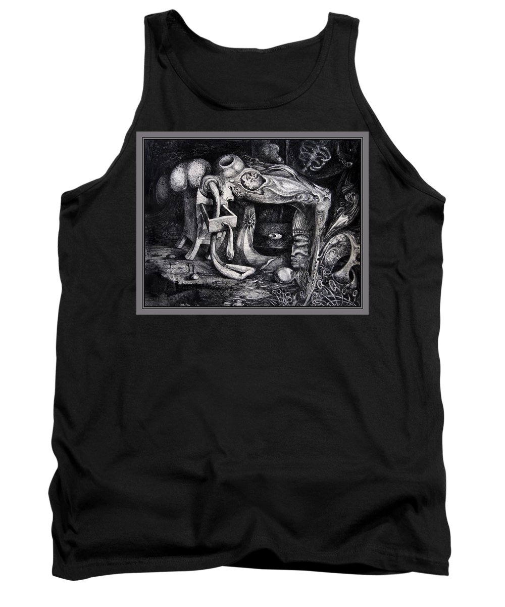 Drawing Tank Top featuring the drawing Dark Surprise by Otto Rapp