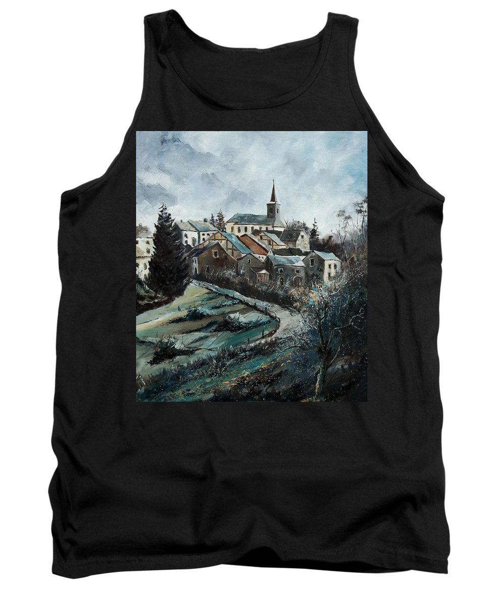 Village Tank Top featuring the painting Daverdisse 78 by Pol Ledent