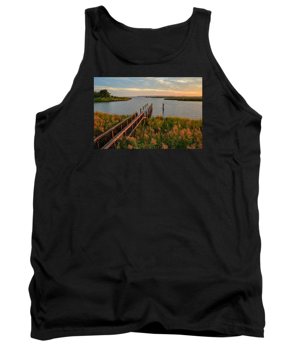 Dock Tank Top featuring the photograph Dawn's Early Light by Robert Coffey