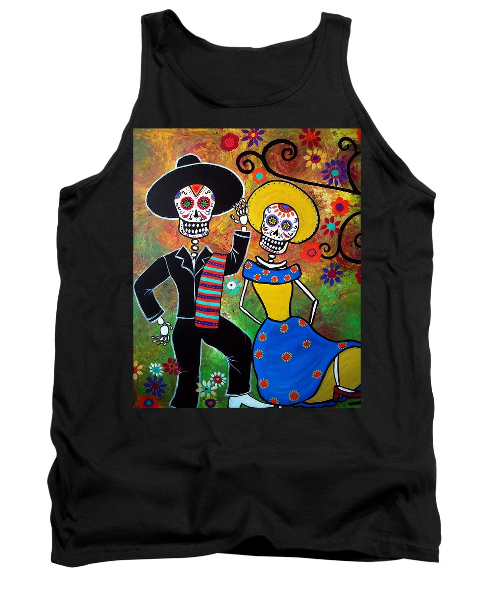 Mexican Tank Top featuring the painting Day Of The Dead Bailar by Pristine Cartera Turkus