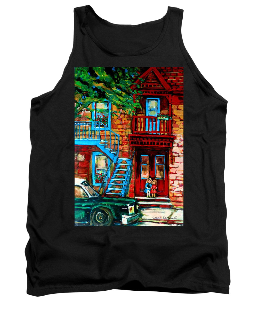 Montreal Streetscenes Tank Top featuring the painting Debullion Street Neighbors by Carole Spandau