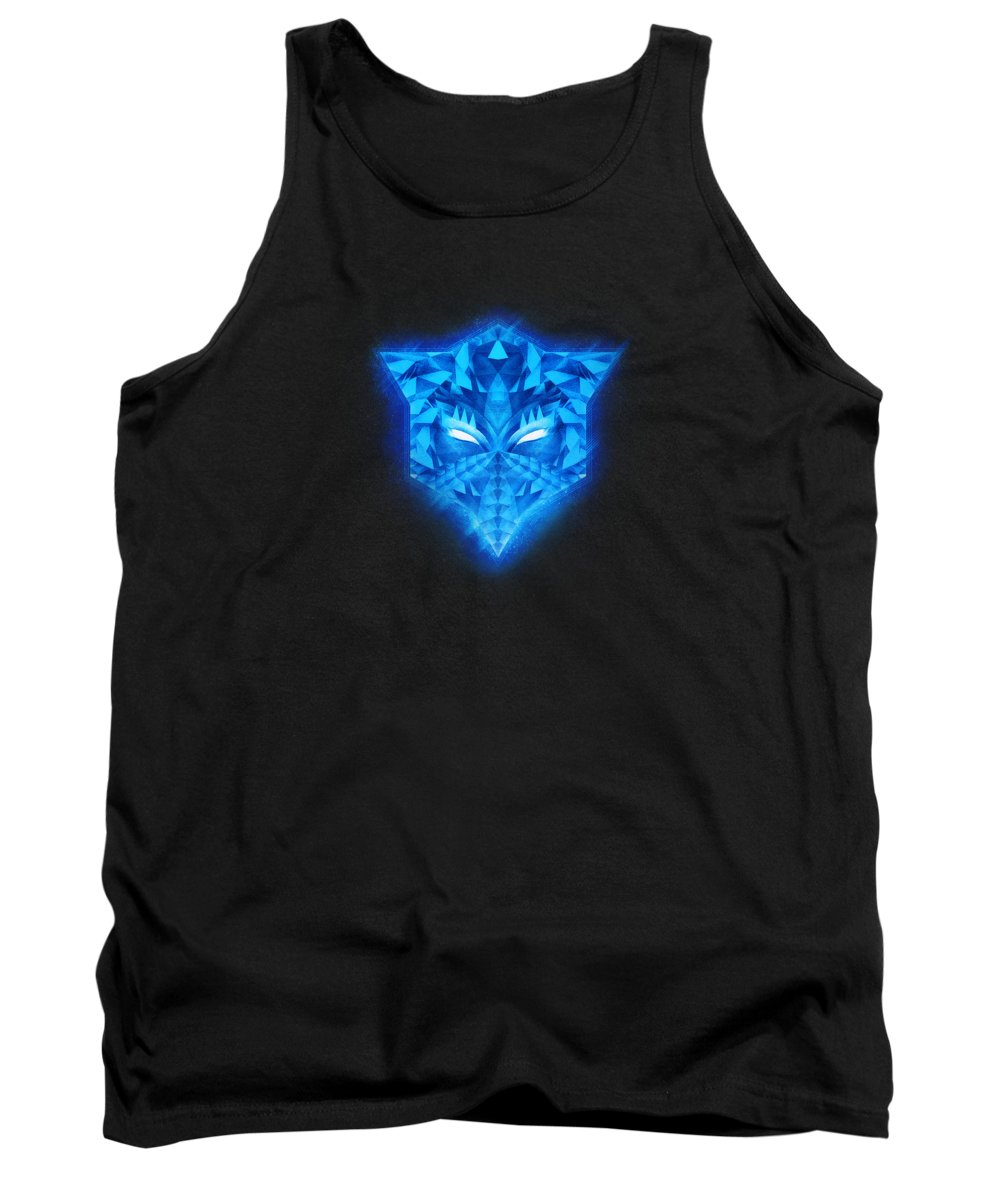 Colorful Tank Top featuring the digital art Deep Blue Collosal Low Poly Triangle Pattern Modern Abstract Cubism Design by Philipp Rietz