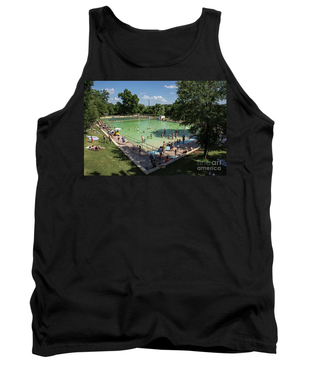 Deep Eddy Pool Tank Top featuring the photograph Deep Eddy Pool Is A Family Friendly, Family Fun, Public Swimming Pool In Austin, Texas by Austin Welcome Center