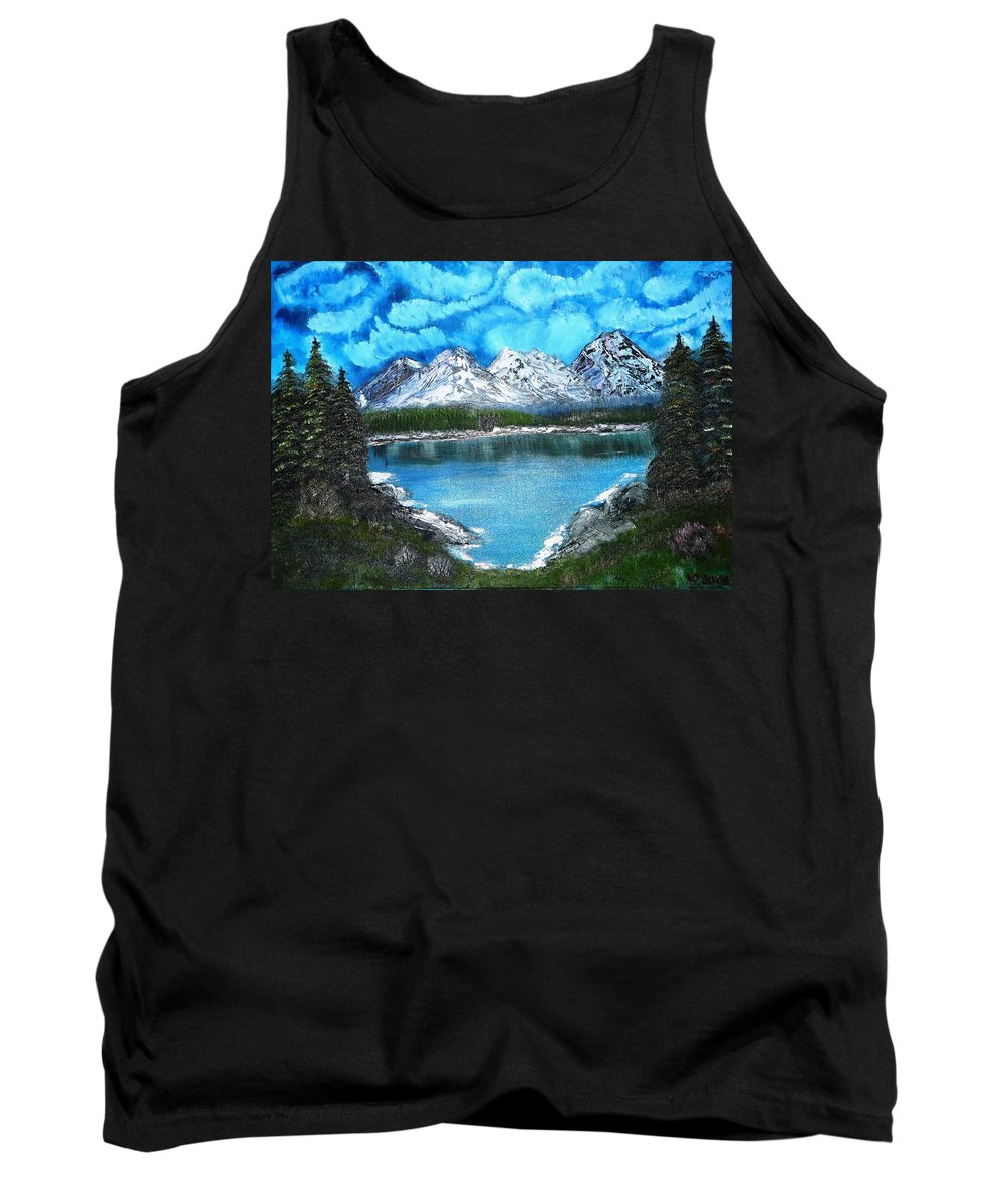 Landscape Tank Top featuring the painting Deep Mountain Lake by Valerie Ornstein