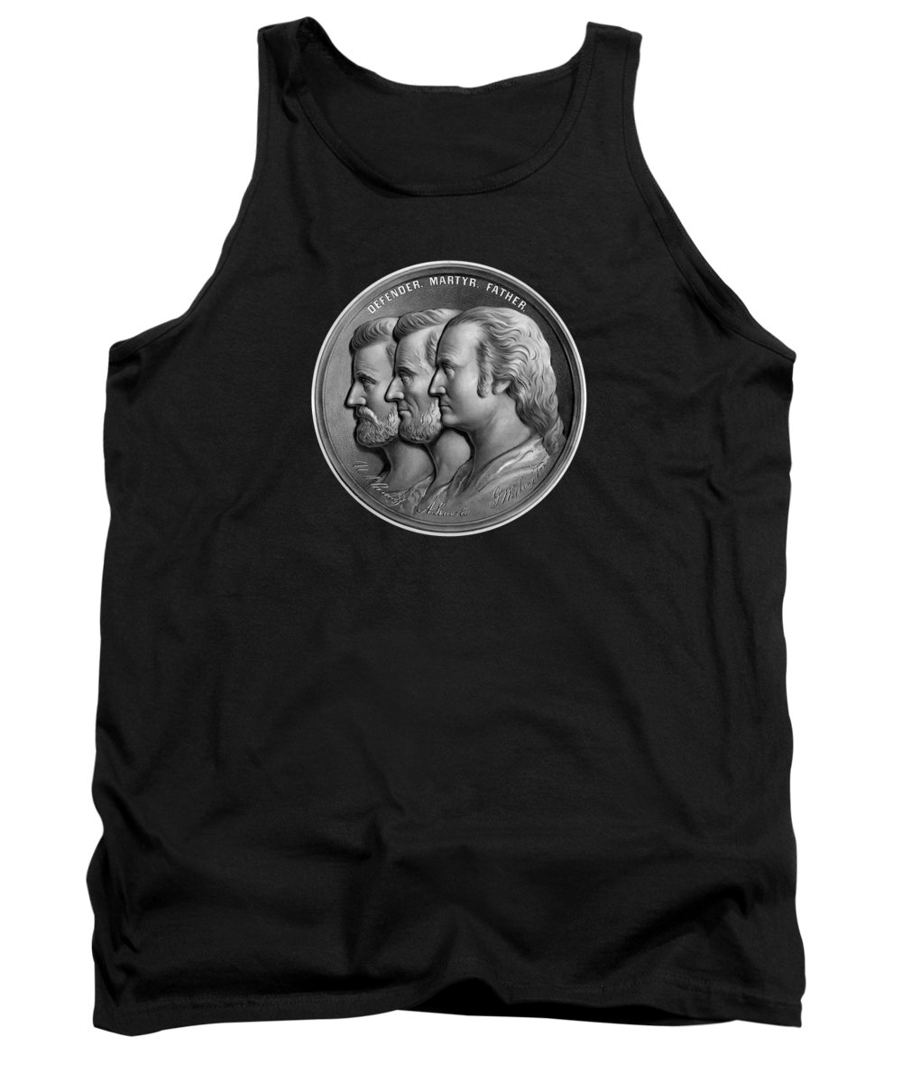 George Washington Tank Top featuring the painting Grant Lincoln and Washington - Defender Martyr Father by War Is Hell Store
