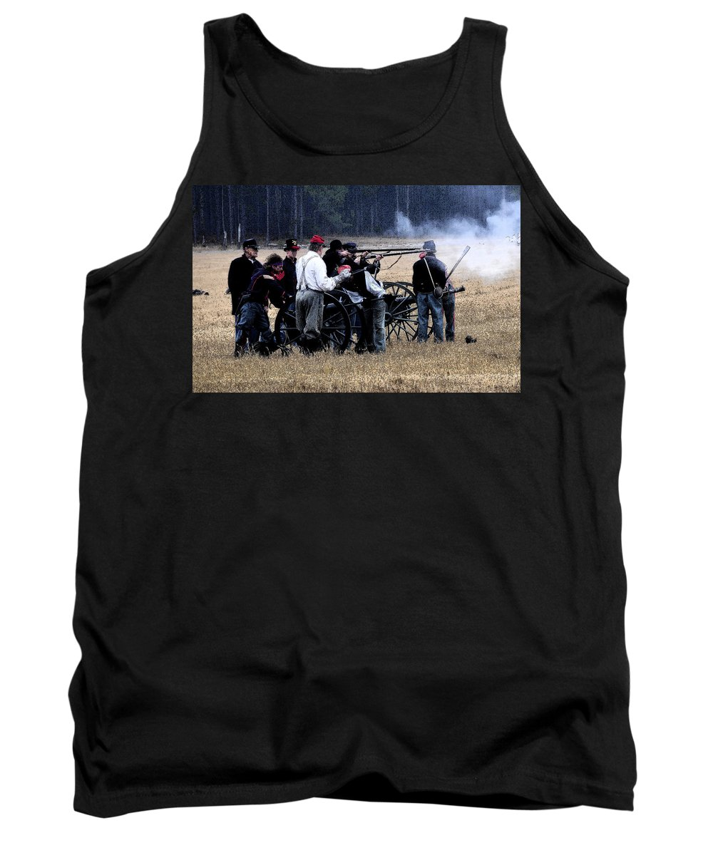 Cannons Tank Top featuring the painting Defending The Artillery by David Lee Thompson