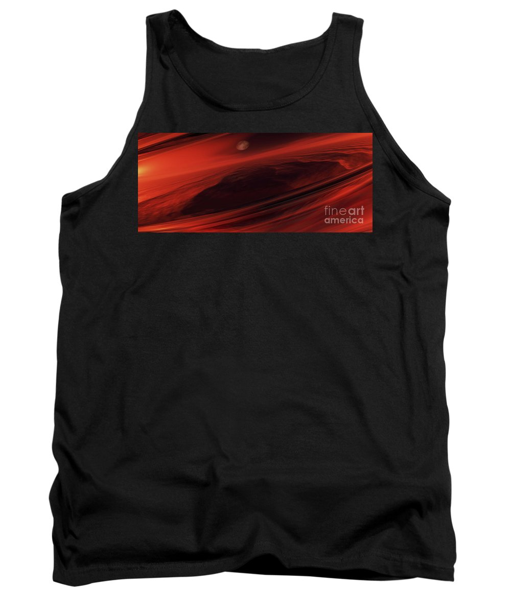 Science Fiction Tank Top featuring the digital art Departing World by Richard Rizzo