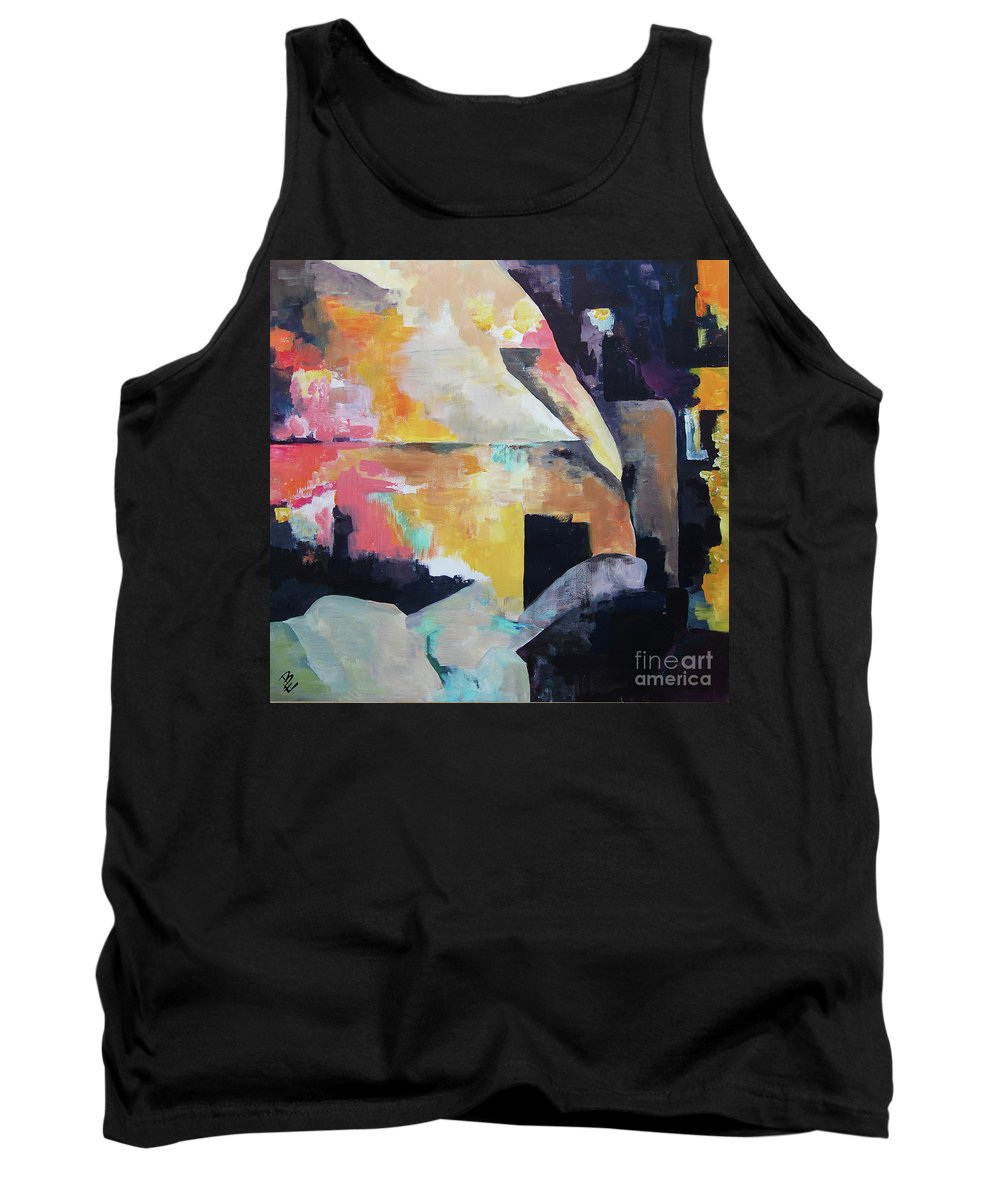 Abstract Tank Top featuring the painting Designed By Soul by Eszter Benyo