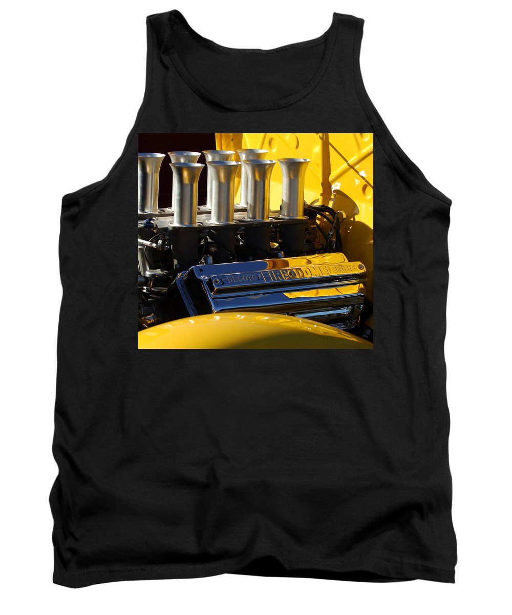 Car Tank Top featuring the photograph Desoto Firedome Eight Engine by Jill Reger