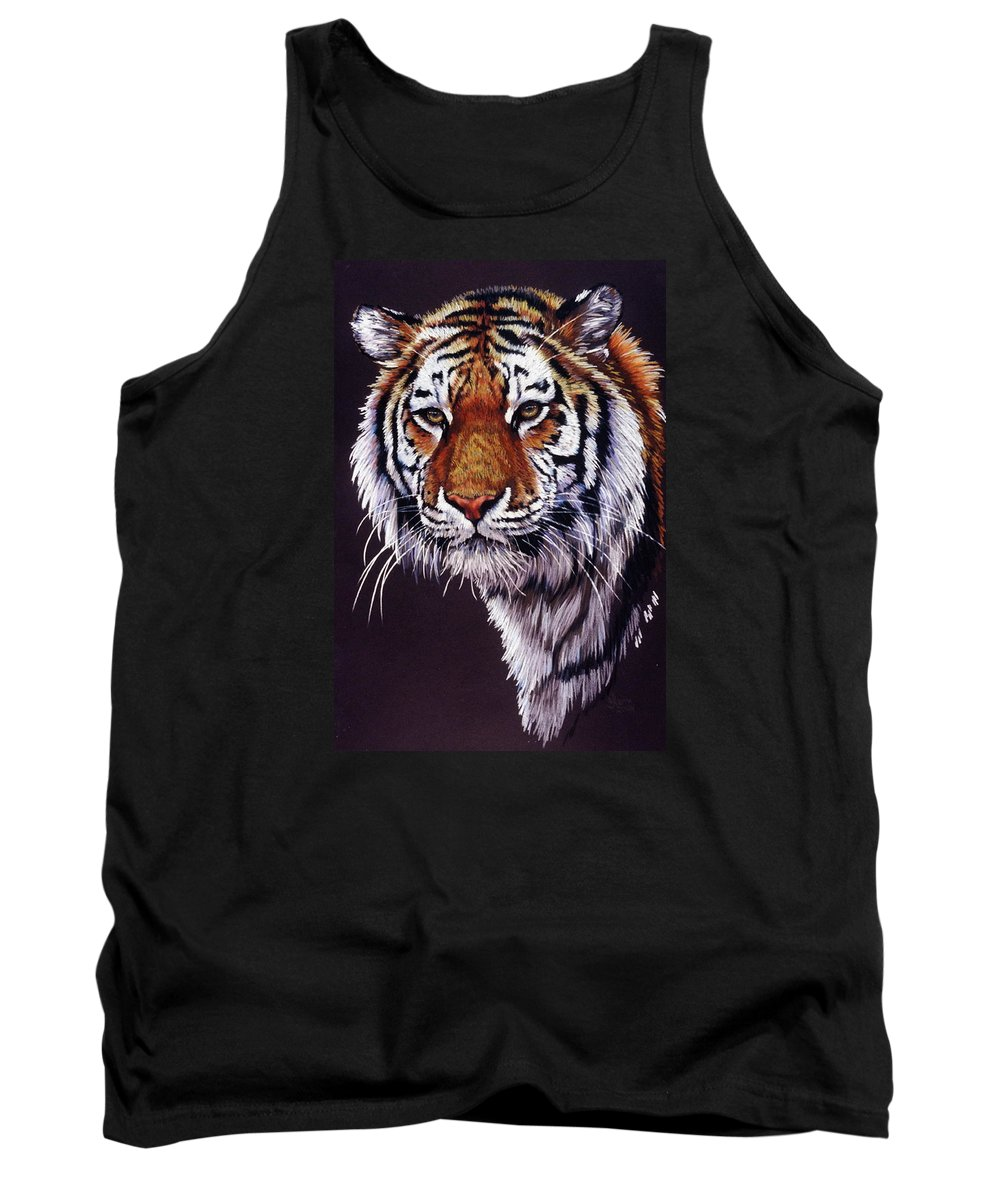 Tiger Tank Top featuring the drawing Desperado by Barbara Keith