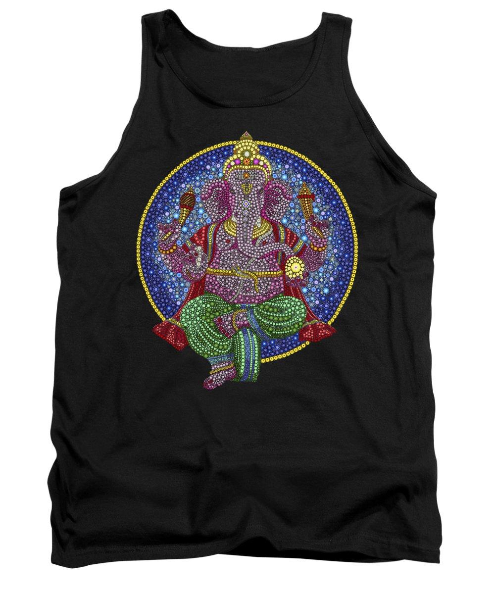 Ganesha Tank Top featuring the digital art Digital Ganesha by Tim Gainey