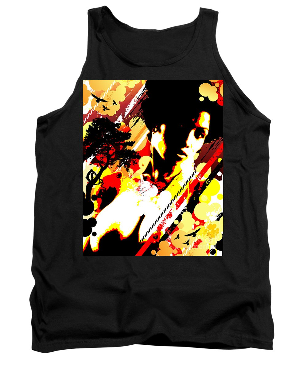 Nostalgic Seduction Tank Top featuring the digital art Dim Sunrise by Chris Andruskiewicz