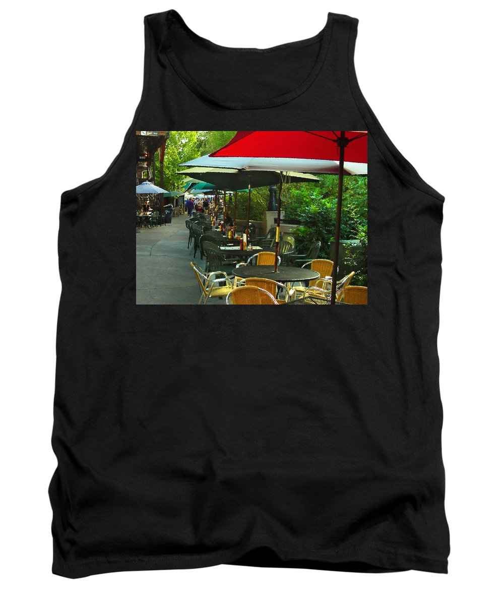 Cafe Tank Top featuring the photograph Dining Under The Umbrellas by James Eddy