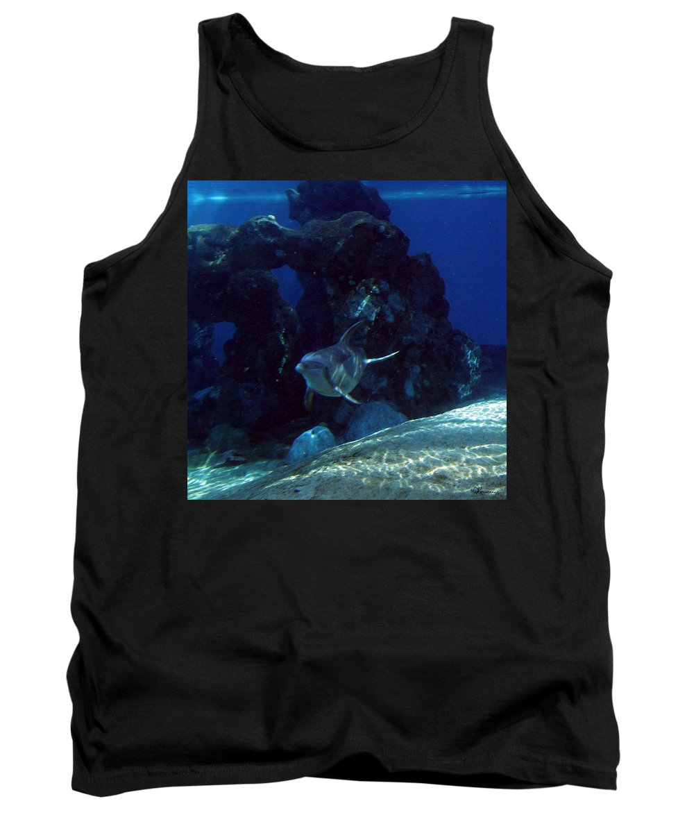 Dolphin Fish Aquatic Life Water Aquarium Sea Sandy Shore Rock Reef Tank Top featuring the photograph Dolphin by Andrea Lawrence