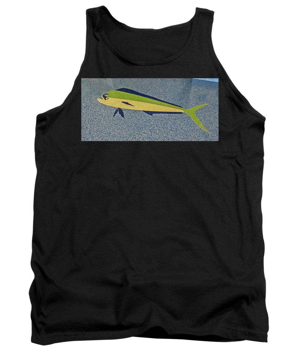 Photograph Tank Top featuring the photograph Dolphinfish Inlay On Alabama Welcome Center Floor by Marian Bell
