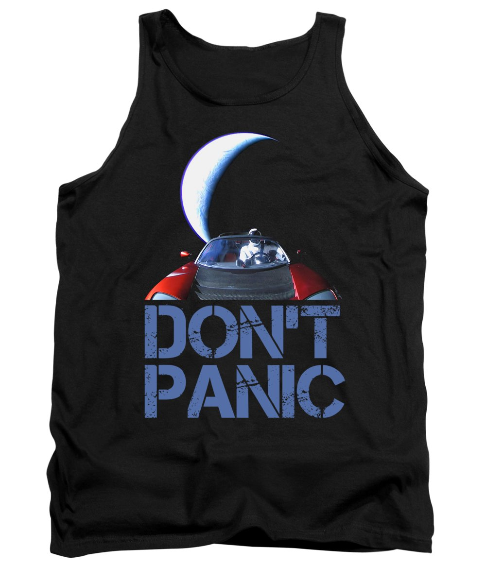 Dont Panic Tank Top featuring the mixed media Don't Panic Starman by Filip Schpindel