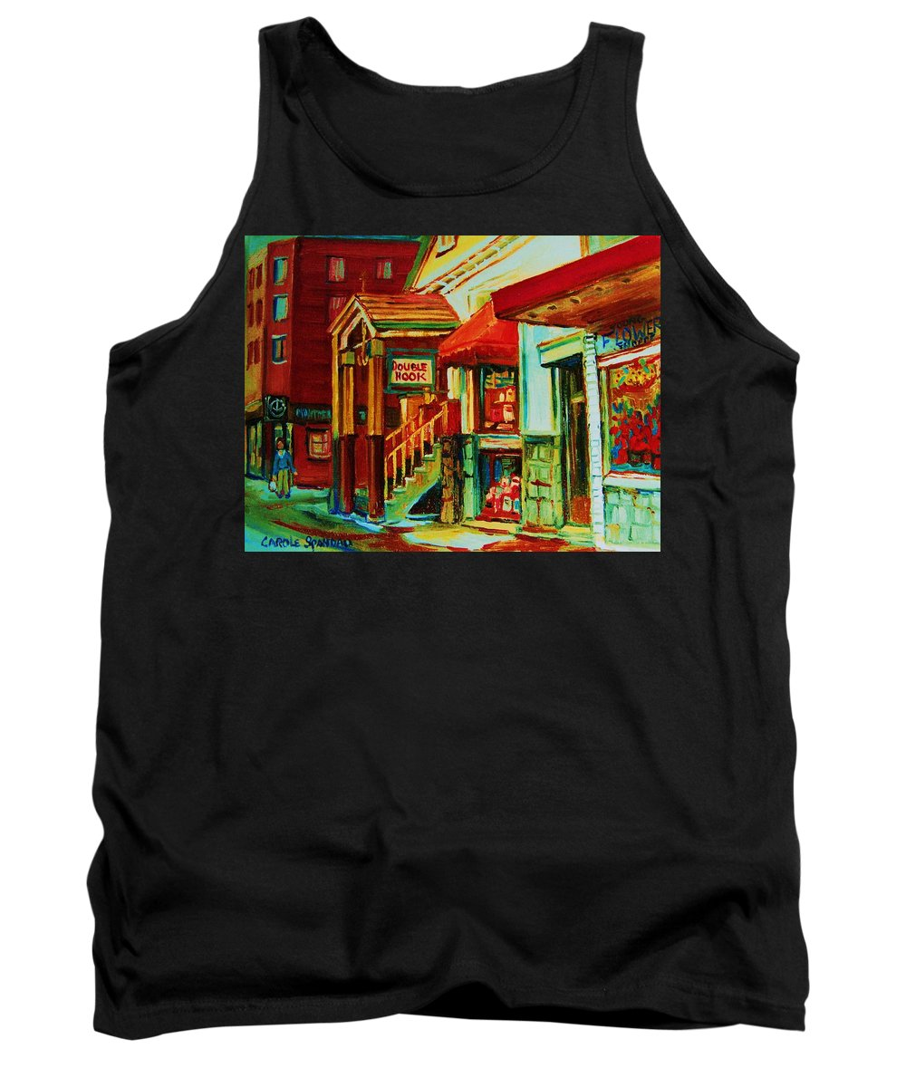 Double Hook Bookstore Tank Top featuring the painting Double Hook Book Nook by Carole Spandau