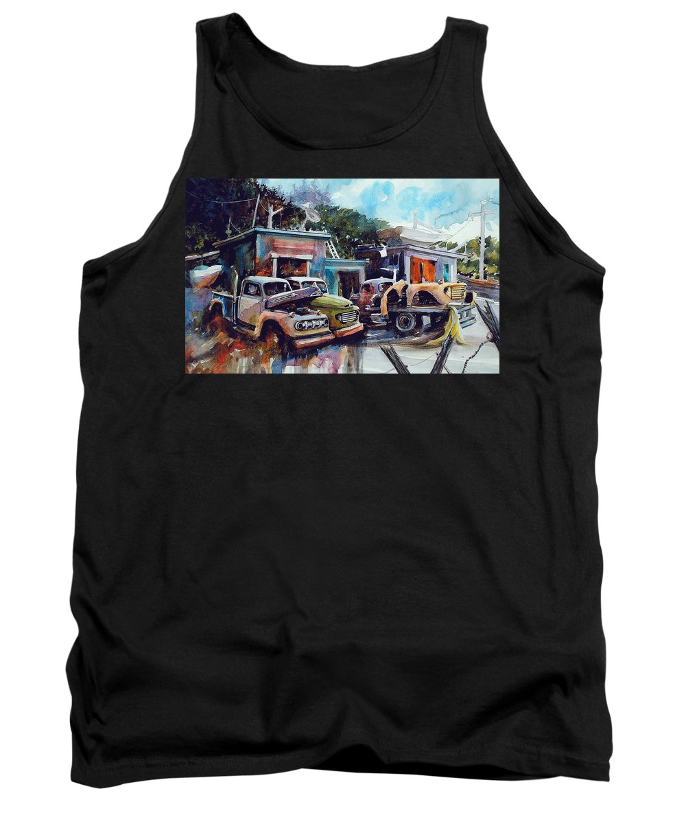 Trucks Tank Top featuring the painting Down on the Lower Road by Ron Morrison