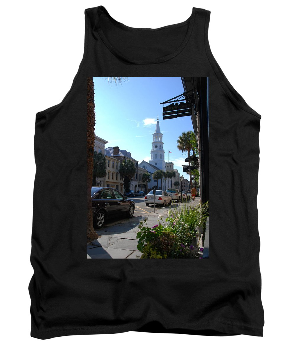 Photography Tank Top featuring the photograph Down Town Charleston by Susanne Van Hulst