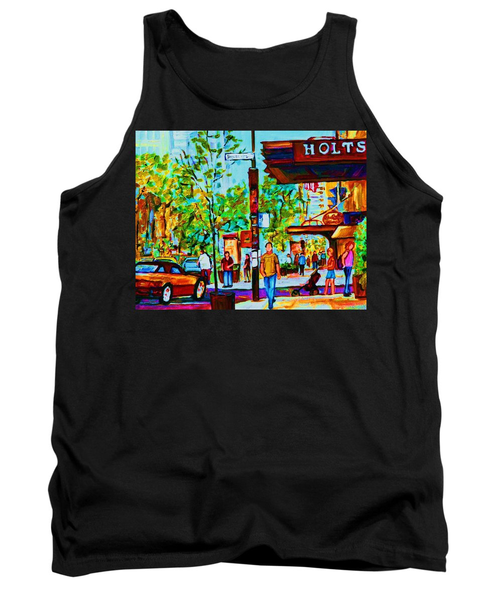 Montreal Streetscene Tank Top featuring the painting Downtowns Popping by Carole Spandau
