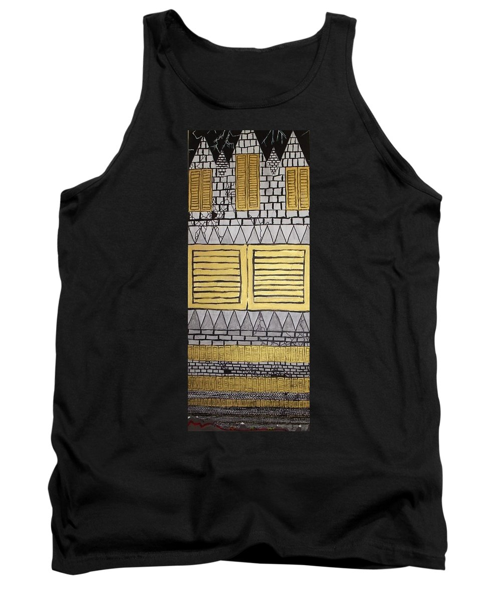 Giant Castle Cars Road Lightning Crumbling Windows Nightmare Dreams Images Tank Top featuring the painting Dream Castle by William Douglas