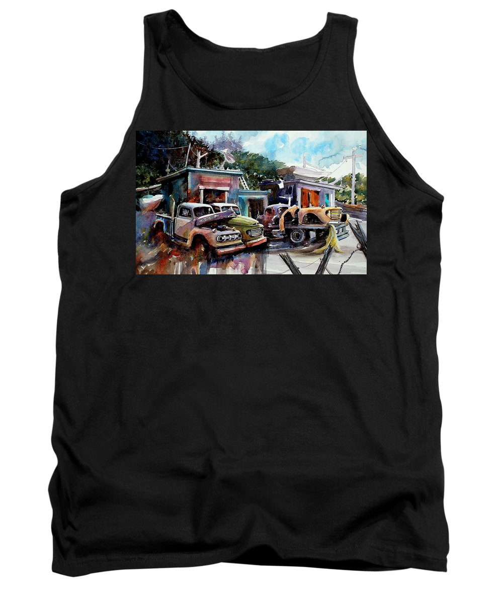 Trucks Buildings Boats Tank Top featuring the painting Dreamboat Woodworks by Ron Morrison