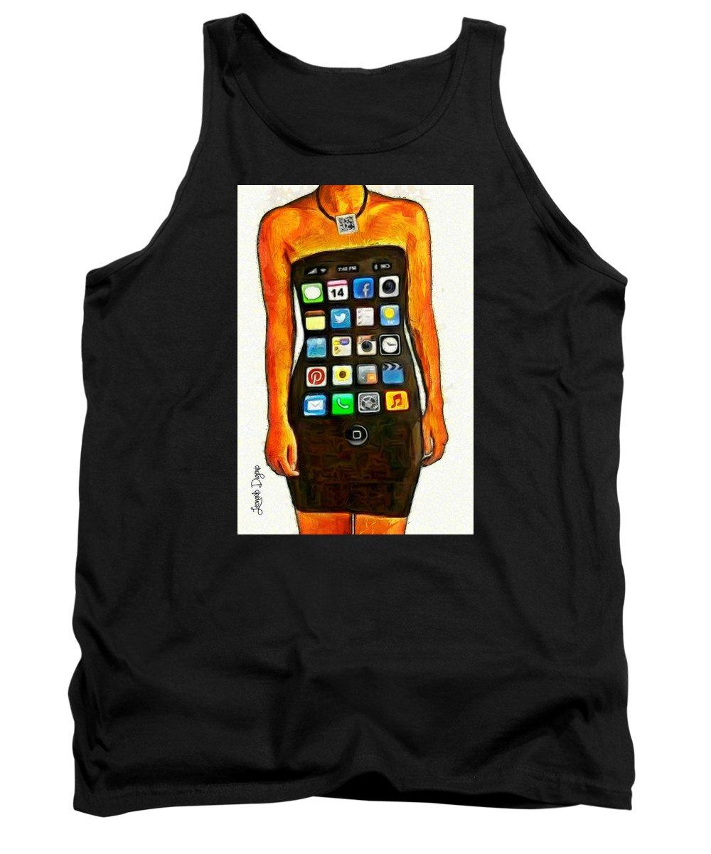 Ios Tank Top featuring the painting Dressing Iphone by Leonardo Digenio
