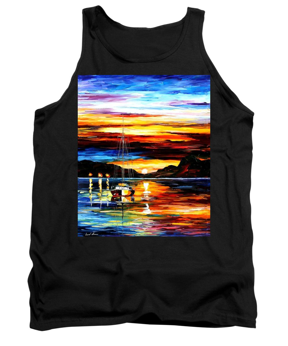 Afremov Tank Top featuring the painting Drowned Sunset by Leonid Afremov