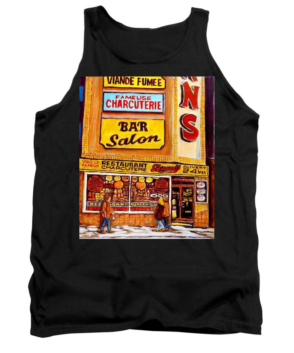 Dunn Tank Top featuring the painting Dunn's Restaurant Montreal by Carole Spandau