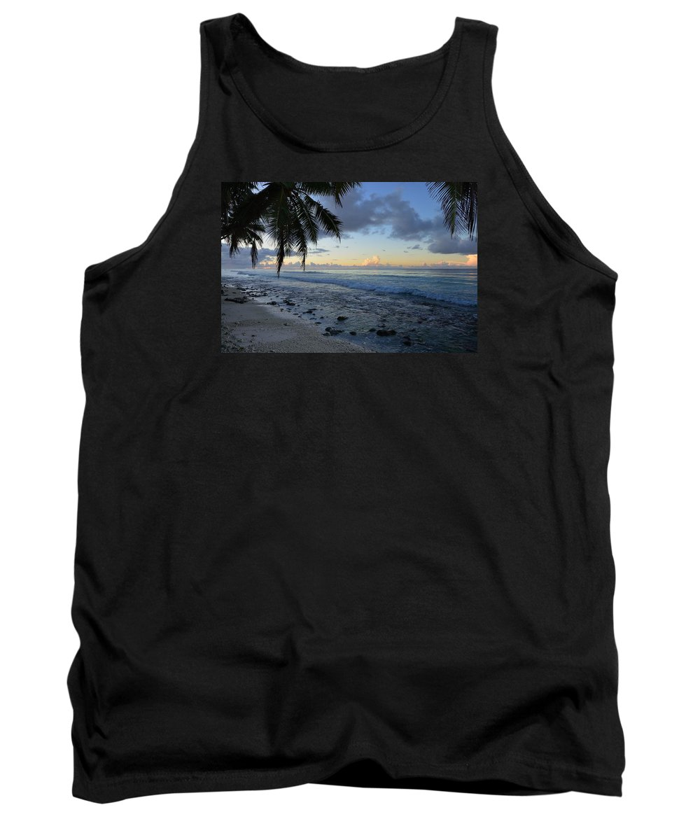 Blue Tank Top featuring the photograph Dusk Beach by Michael Scott