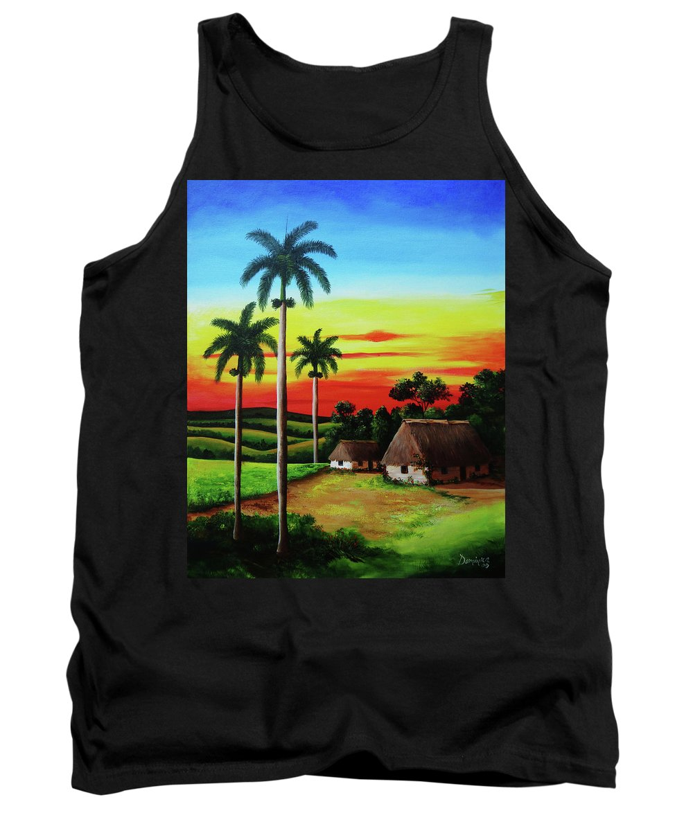 Dusk Tank Top featuring the painting Dusk In A Cuban Countryside by Dominica Alcantara