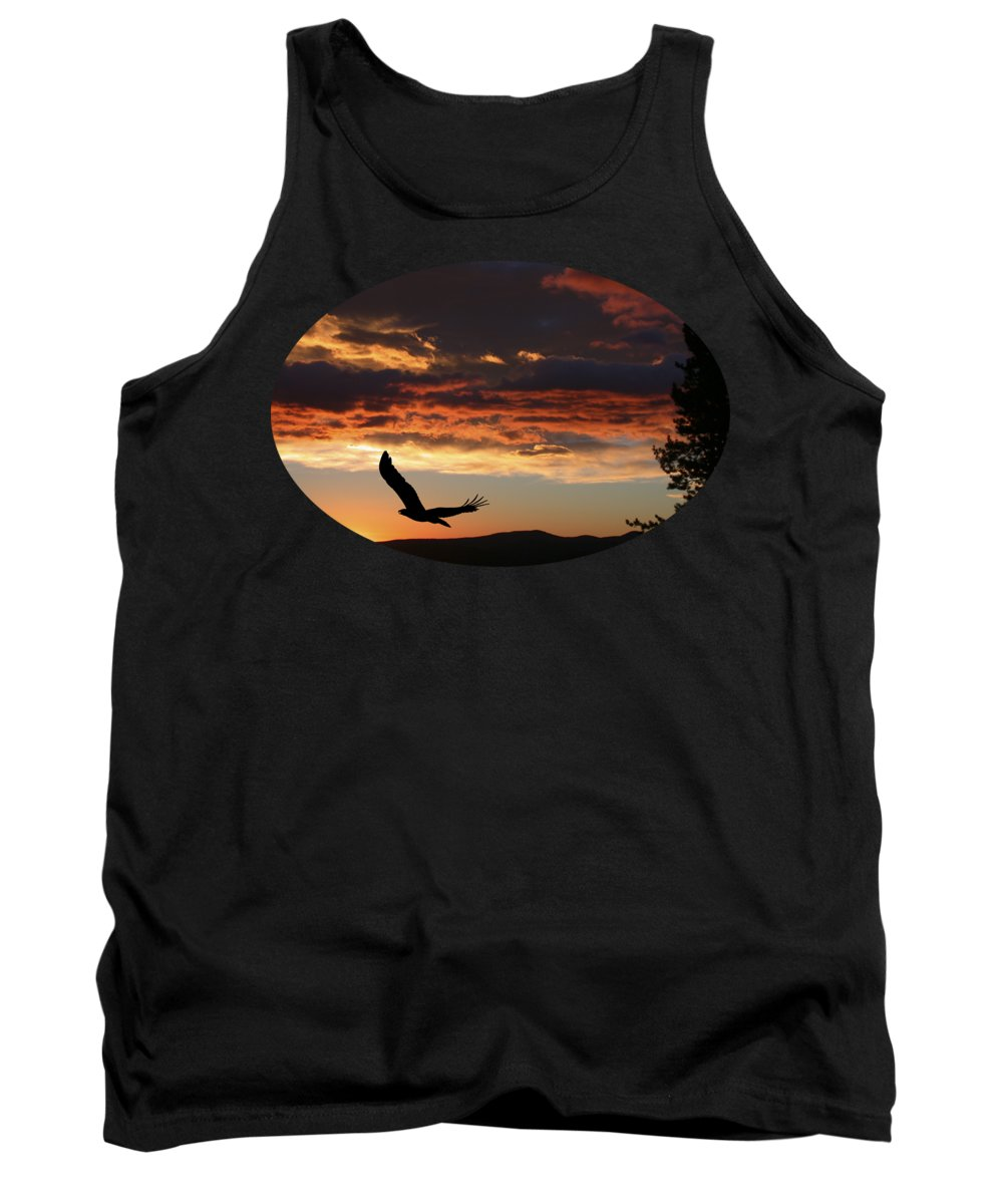Bald Eagle Tank Top featuring the photograph Eagle At Sunset by Shane Bechler
