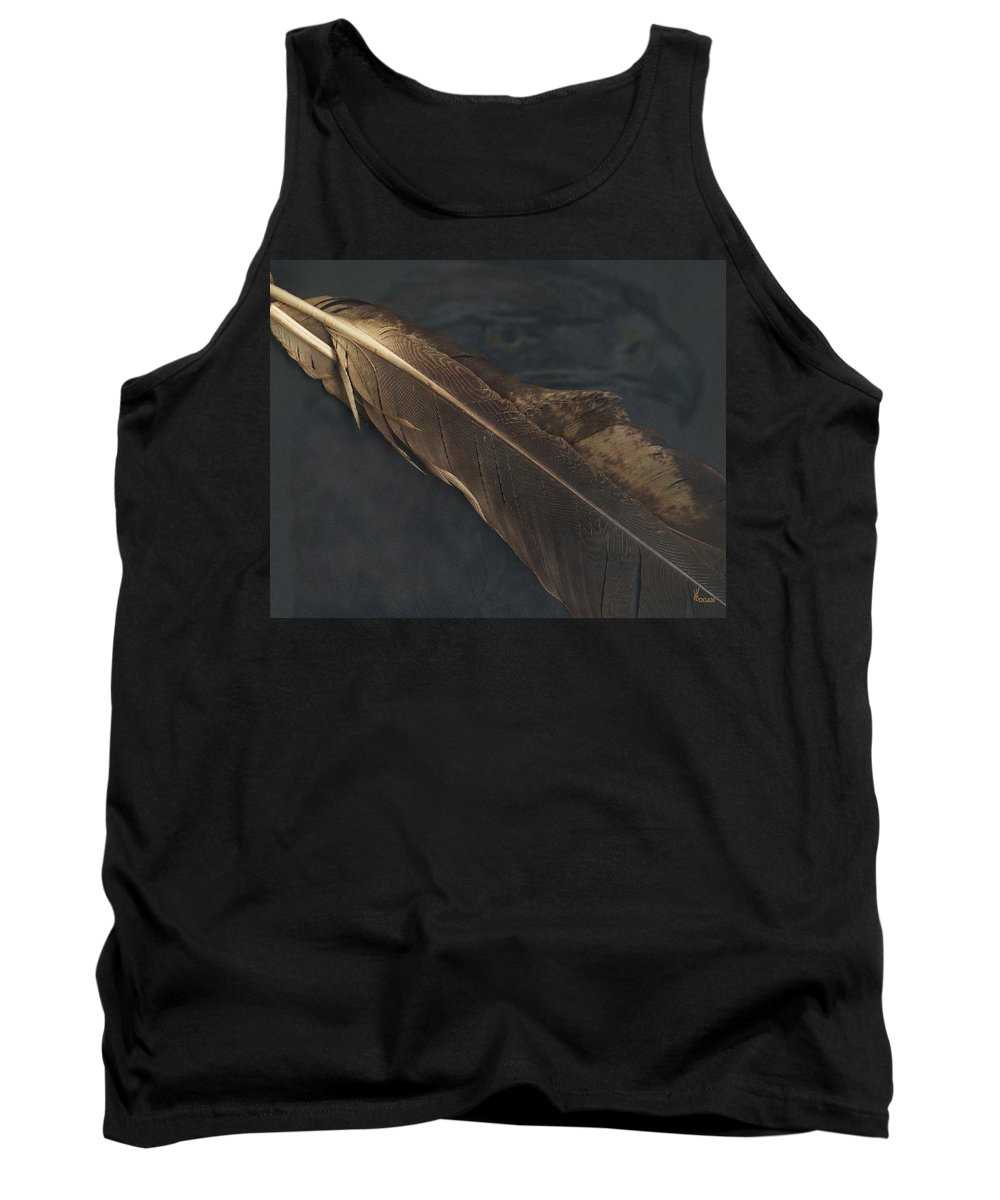 Eagle Tank Top featuring the digital art Eagle Feather  -006 by Will Logan