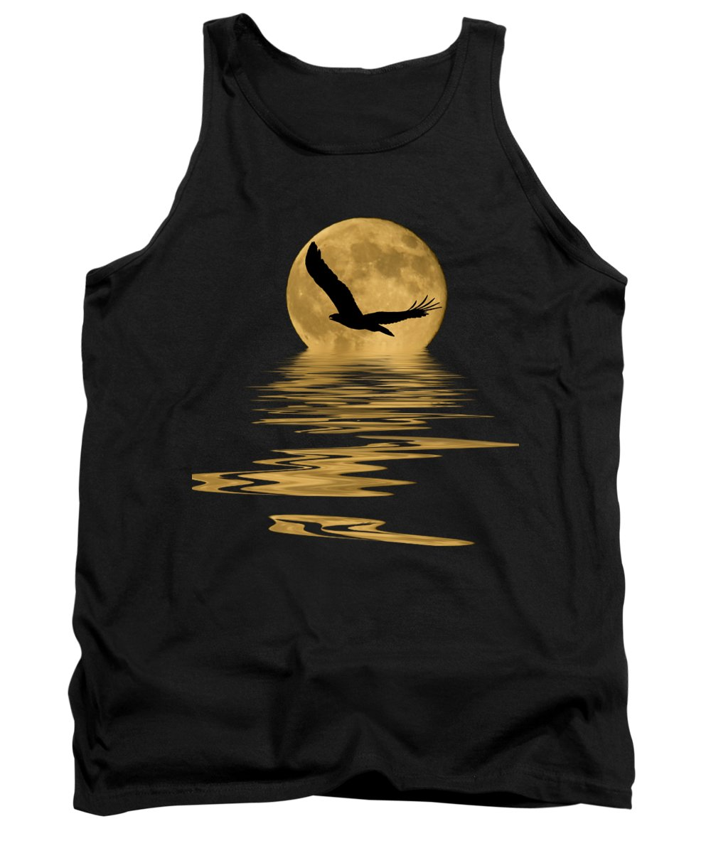Bald Eagle Tank Top featuring the mixed media Eagle In The Moonlight by Shane Bechler