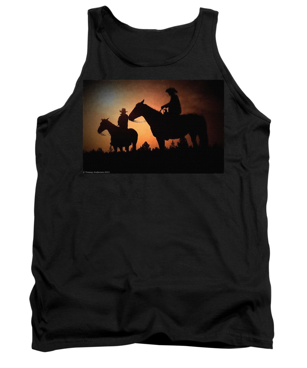 Sunrise Tank Top featuring the digital art Early Morning Cowboys by Tommy Anderson