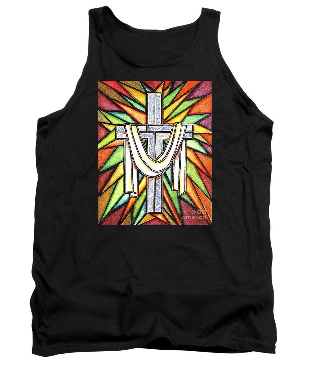 Cross Tank Top featuring the painting Easter Cross 5 by Jim Harris