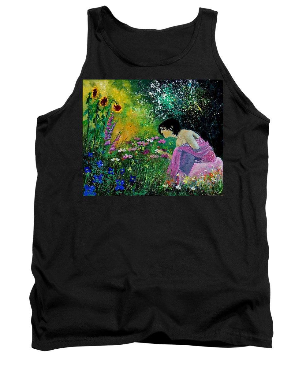 Flowers Tank Top featuring the painting Eglantine With Flowers by Pol Ledent