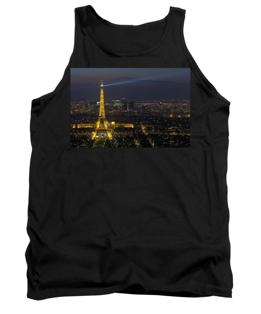 Eiffel Tank Top featuring the photograph Eiffel Tower At Night by Sebastian Musial