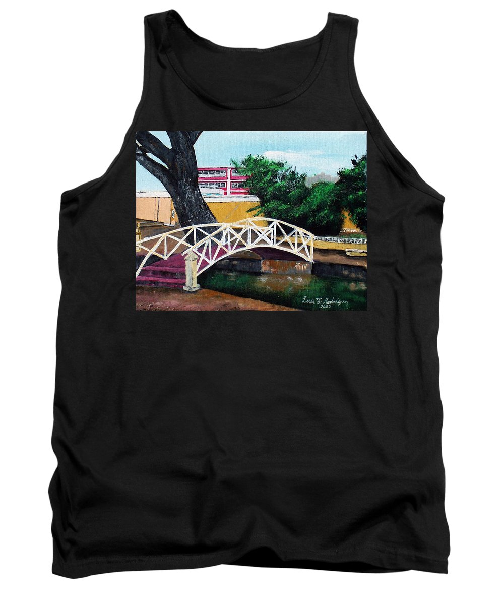 Aguadilla Tank Top featuring the painting El Parterre by Luis F Rodriguez