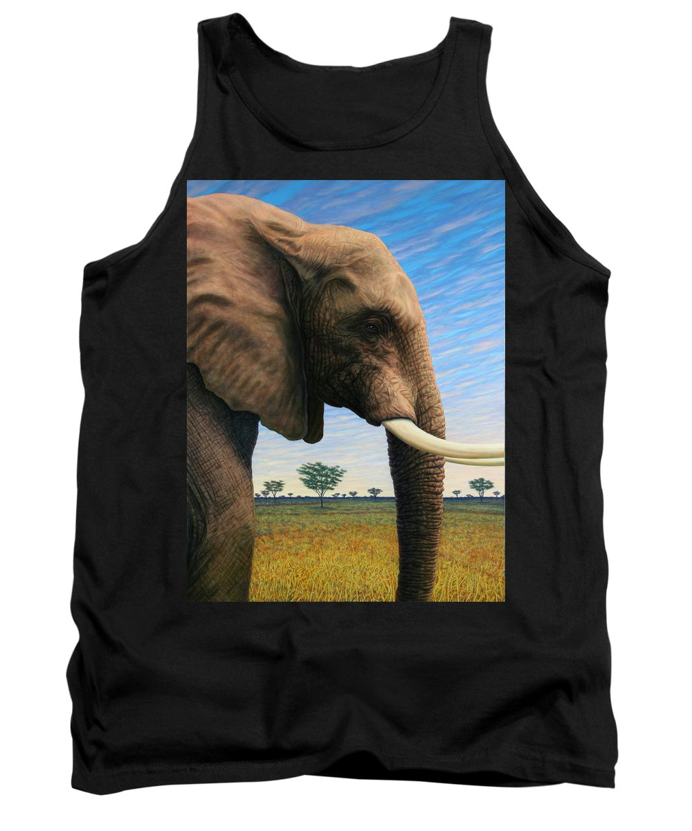 Elephant Tank Top featuring the painting Elephant On Safari by James W Johnson