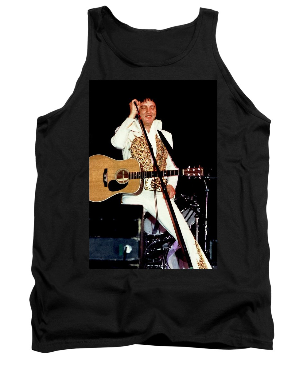 Icon Tank Top featuring the photograph Elvis In Concert by Anthony Dezenzio