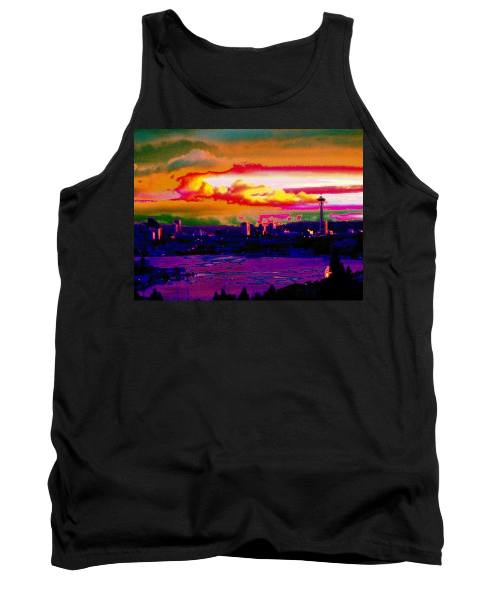 Seattle Tank Top featuring the photograph Emerald City Sunset by Tim Allen