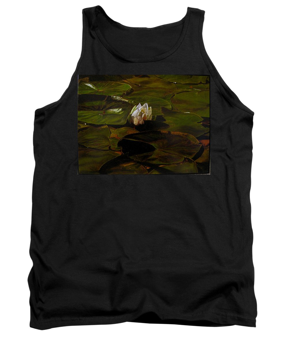 Lily Pad Tank Top featuring the painting Emerging One by Thu Nguyen