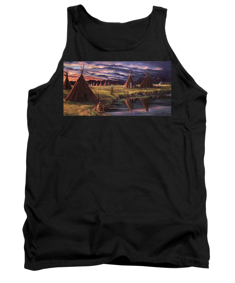 Native American Tank Top featuring the painting Encampment At Dusk by Nancy Griswold