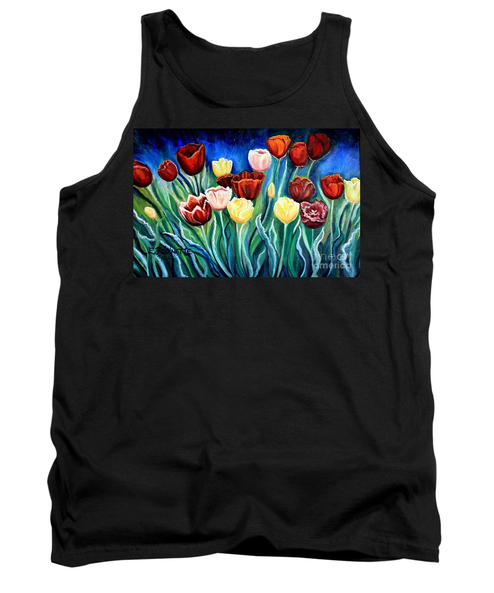 Tulips Tank Top featuring the painting Enchanted Tulips by Elizabeth Robinette Tyndall