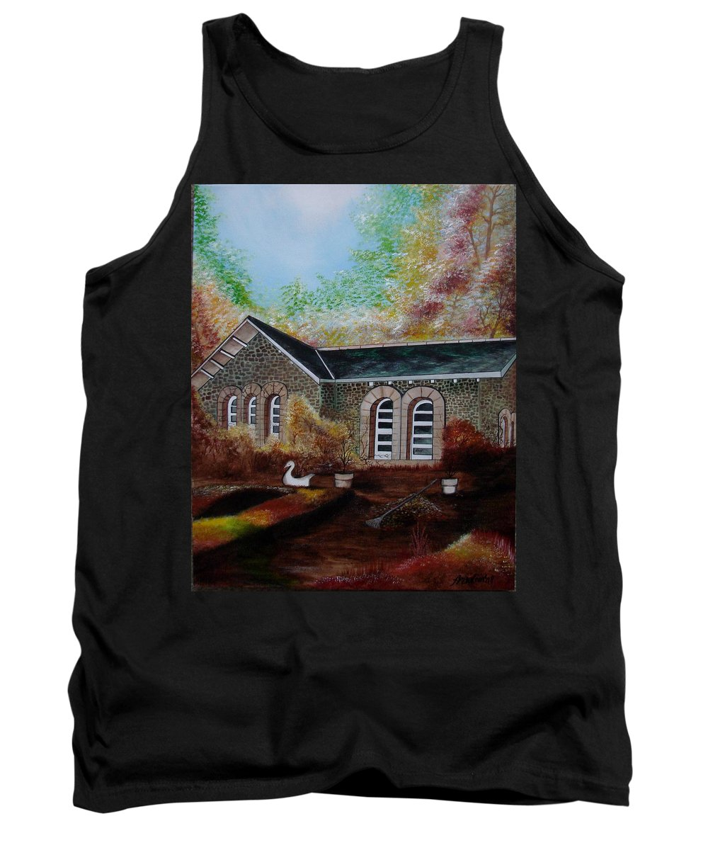 Autmn Tank Top featuring the painting English Cottage In The Autumn by Glory Fraulein Wolfe