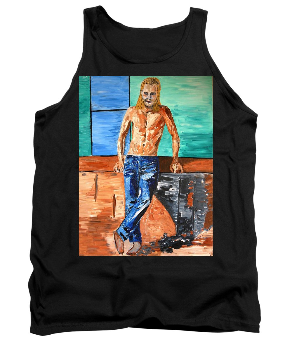 Eric Tank Top featuring the painting Eric Northman by Valerie Ornstein