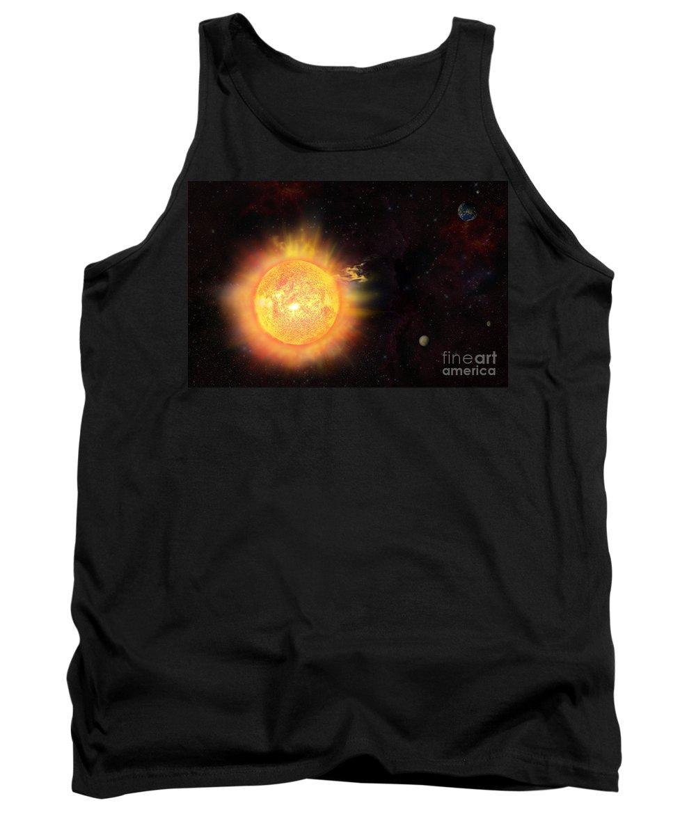 Sun Tank Top featuring the digital art Eruption - Solar Storm by Michal Boubin