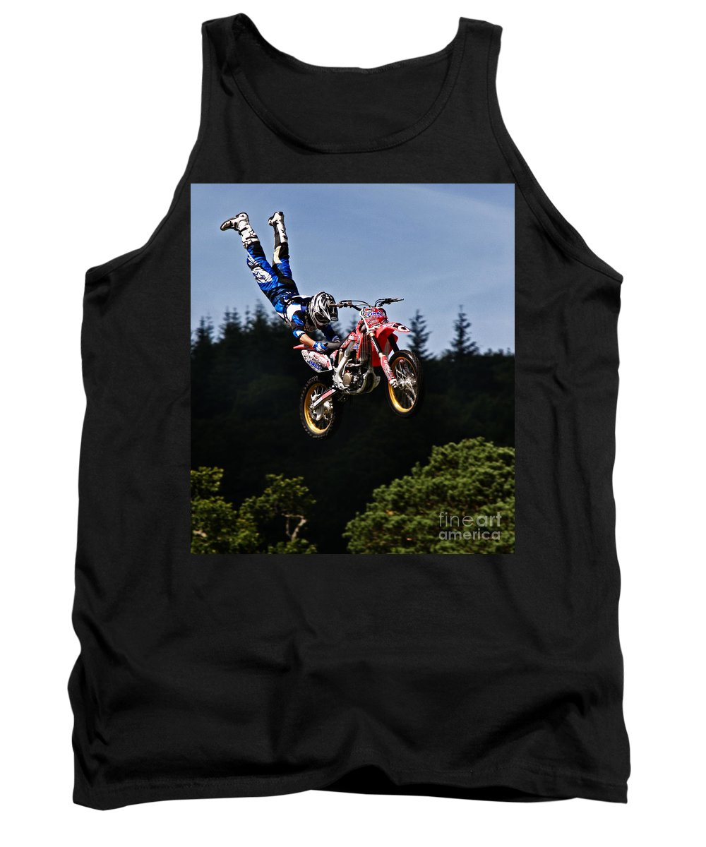 Motocross Tank Top featuring the photograph Escaping Motorbike by Angel Ciesniarska