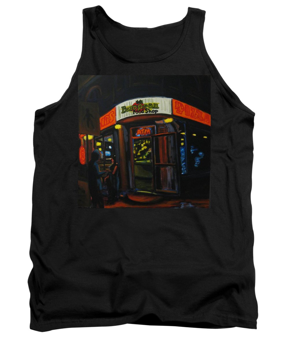 City Tank Top featuring the painting European Food Shop by John Malone